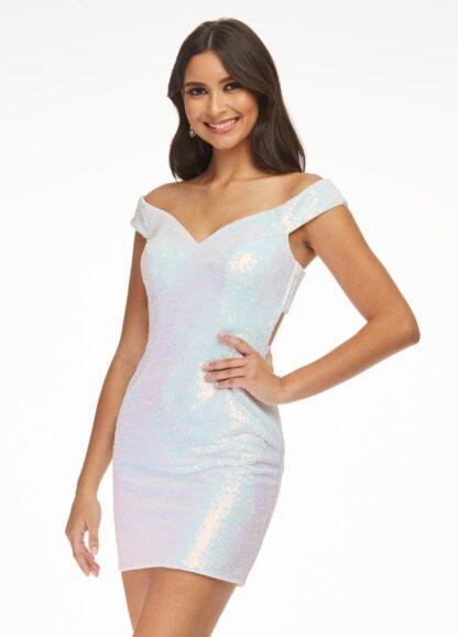 White sequin cross back dress