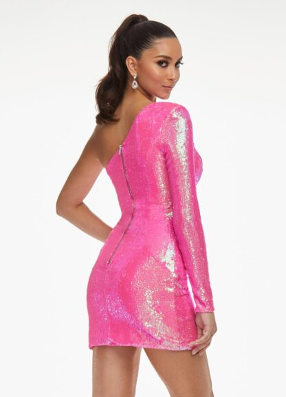 One sleeve sequin dress