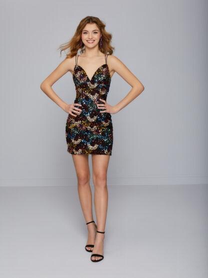 patterned sequin dress